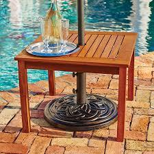 Patio Umbrella Tables Eucalyptus Umbrella Table