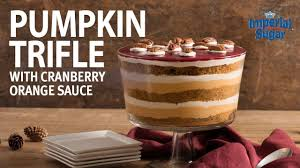 thanksgiving dessert pumpkin trifle with cranberry orange sauce