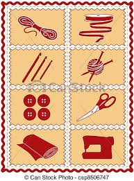 vectors illustration of sewing knit crochet craft icons tools