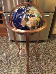 36 blue lapis gemstone world globe with tripod copper bronze
