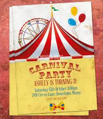 custom printable carnival circus birthday invitation retro circus