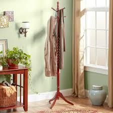 wooden standing coat rack with hooks in the corner attractive