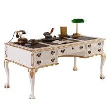 bureau de style bureau anglais chippendale acajou blanc doré meuble de style