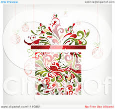 clipart floral christmas gift box with suspended ornaments