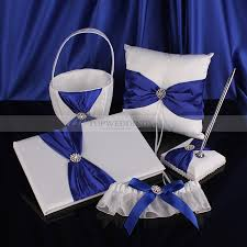guest book and pen set white with royal blue satin ring pillow basket guest book and pen
