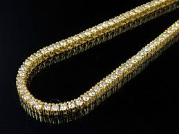 real diamond necklace images Men 39 s 10k yellow gold prong 1 row real diamond tennis chain jpg