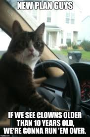 Creepy Clown Meme - jojo the driving cat does not like creepy clowns imgflip