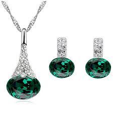 emerald earrings uk emerald green jewellery set of stud earrings and necklace