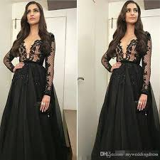 see through 2017 black sheer neck lace evening dresses with
