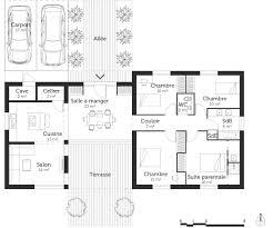 plan maison plain pied 4 chambres avec suite parentale charmant plan maison moderne 4 chambres ravizh com