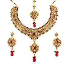 red necklace set images Stunning red and white gold plated antique kundan necklace set jpg