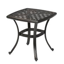 outdoor furniture side table hton bay belcourt metal square outdoor side table d11334 ts the