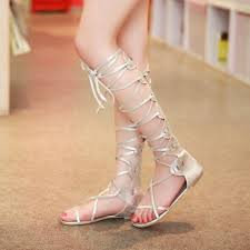 2016 summer style shoes women sandals lace up knee high boots