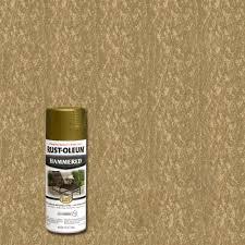 rust oleum stops rust 12 oz gold protective enamel hammered spray