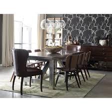 cornelius top grain cigar brown leather dark wood dining chair
