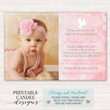 pink baptism invitation dove christening invitation pink