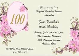 100th Birthday Card 100th Birthday Party Invitations Nostalgic Pink