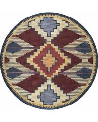 Round Burgundy Rug Great Deal On Rizzy Home Southwest Multicolored Wool Round Area