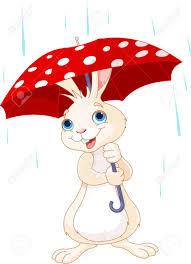 cute little bunny under umbrella royalty free cliparts vectors