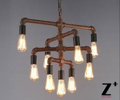 Diy Rustic Chandelier Industrial Lights Diy Made Rustic Iron Pipe Vintage 9 Edison
