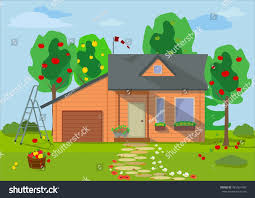 country wooden eco house fruit trees stock vector 481554100
