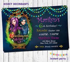 disney descendants birthday party invitations and printables omg