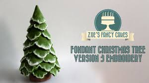 brush embroidery christmas tree cake topper snow using fondant