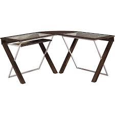 Glass L Shaped Computer Desk by Office Star X Text L Shaped Computer Desk With Glass Top Walmart Com
