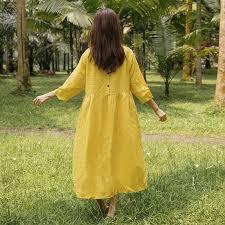 casual loose linen cotton stylish three quarter sleeves yellow