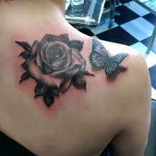 3d rose flower and butterfly tattoo on shoulder