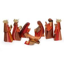 wooden nativity set wood nativity set of 8 pcs handmade peru gifts for baby