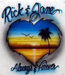 custom spray paint shirts custom airbrush t shirt for lovers beach scene in a heart shape
