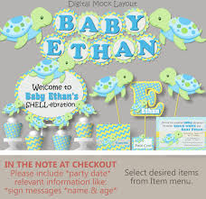 turtle baby shower turtle baby shower decorations boy light blue green or