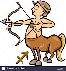 archer cartoon cartoon illustration of sagittarius or the archer or centaur stock
