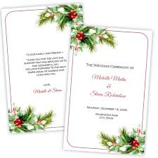 christmas wedding programs folded wedding program template christmas diy