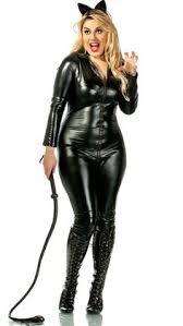 Fluffy Halloween Costumes Women Ladies 2017 Cat Suit Fancy Dress Shiny Super Hero Black