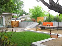 doors orange bench with outdoor table and retaining wall for