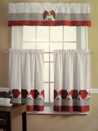 French Lace Kitchen Curtains Kitchen Pretty Red And Black Kitchen Curtains Country Rooster