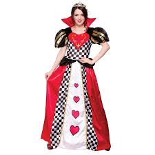 Queen Halloween Costume Ladies Fairytale Queen Hearts Fancy Dress Costume