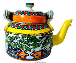 painted kettle madhubani home decor home accent indian