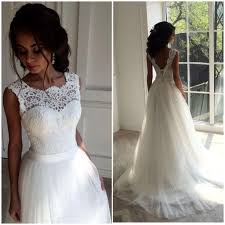 bridal gowns white lace wedding dresses handmade backless lace up wedding