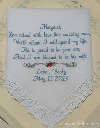 sayings for and groom of the groom embroidered wedding hankerchief