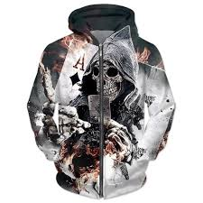 ace of diamonds skull hoodie sweatshirt 2017 autumn winter outwear