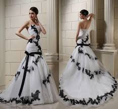 white and black lace wedding dresses 2015 spring applique