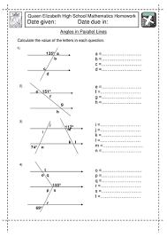 ks3 angles in parallel lines worksheet by jlcaseyuk teaching