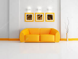 bright orange and white living room u2014 stock photo archideaphoto