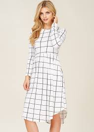 fit and flare dress portia plaid fit flare dress with pockets ivory modli