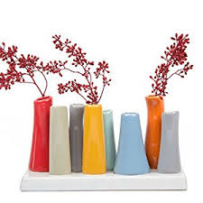 How To Decorate Flower Vase Amazon Com Chive Pooley 2 Unique Ceramic Flower Vase Low