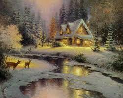 kinkade open edition framed classic canvas deer creek