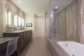 modern bathroom with sacks travertine stone